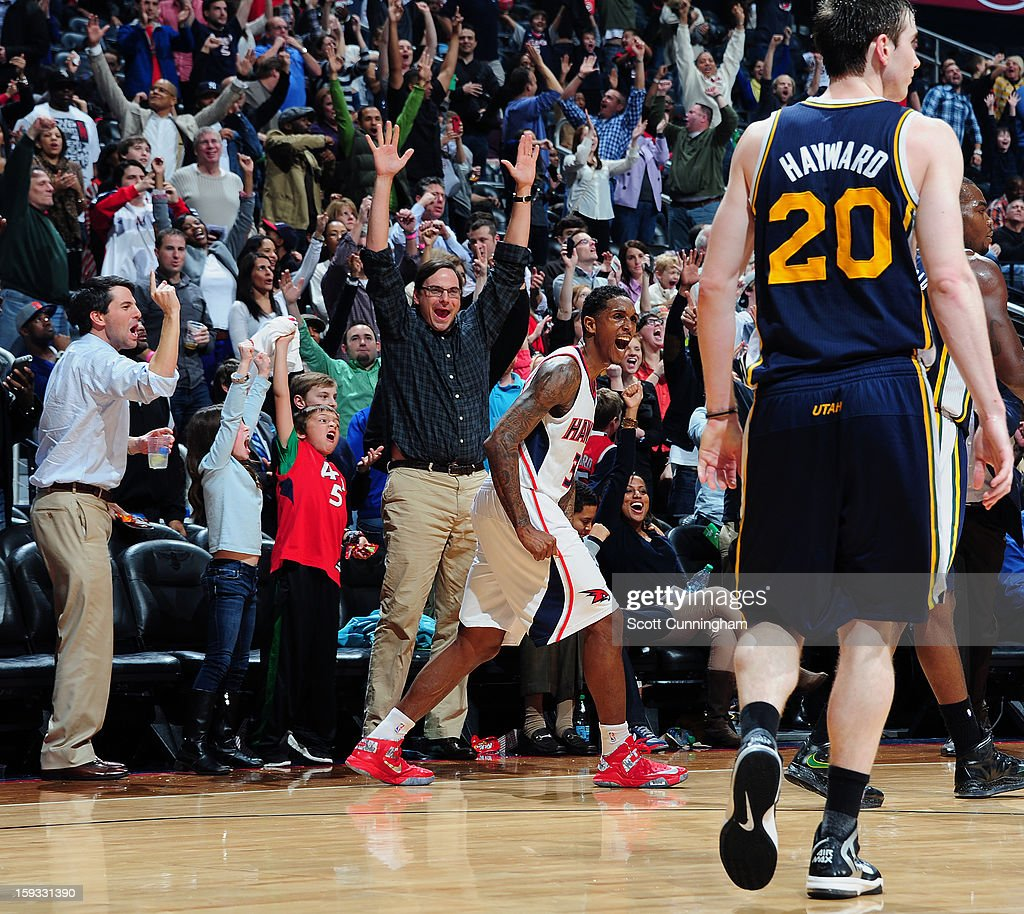 <a gi-track='captionPersonalityLinkClicked' href=/galleries/search?phrase=Louis+Williams&family=editorial&specificpeople=670315 ng-click='$event.stopPropagation()'>Louis Williams</a> #3 of the Atlanta Hawks gets excited after a fantastic play against the Utah Jazz on January 11, 2013 at Philips Arena in Atlanta, Georgia.