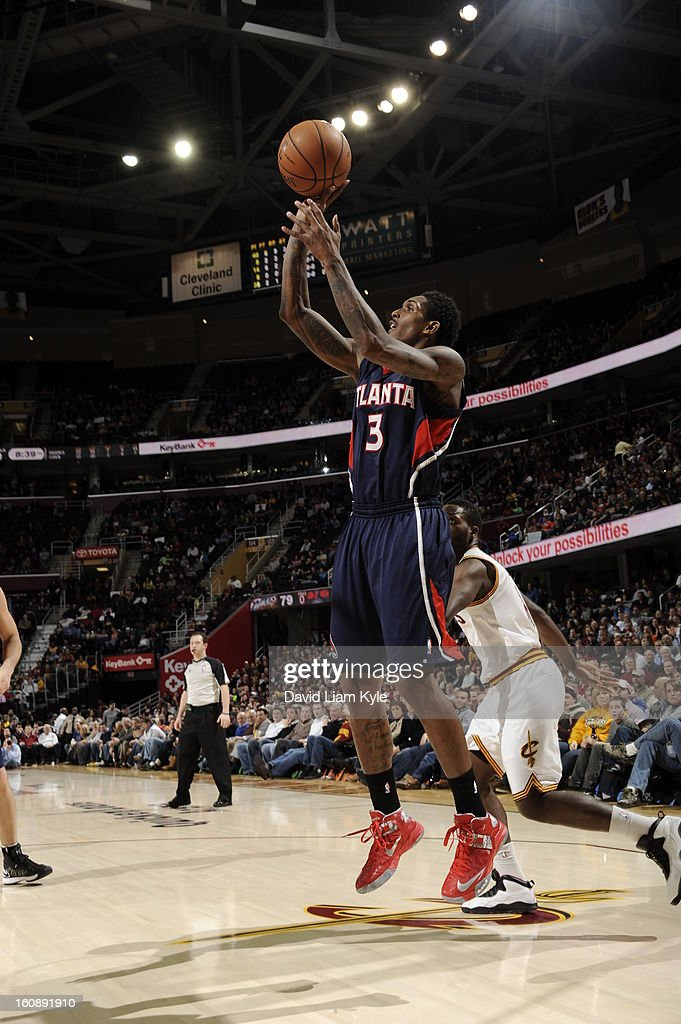 <a gi-track='captionPersonalityLinkClicked' href=/galleries/search?phrase=Louis+Williams&family=editorial&specificpeople=670315 ng-click='$event.stopPropagation()'>Louis Williams</a> #3 of the Atlanta Hawks puts up a shot against the Cleveland Cavaliers at The Quicken Loans Arena on January 9, 2013 in Cleveland, Ohio.