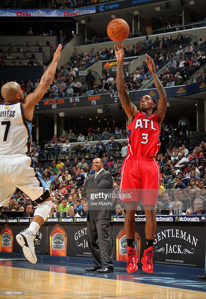 <a gi-track='captionPersonalityLinkClicked' href=/galleries/search?phrase=Louis+Williams&family=editorial&specificpeople=670315 ng-click='$event.stopPropagation()'>Louis Williams</a> #3 of the Atlanta Hawks shoots against <a gi-track='captionPersonalityLinkClicked' href=/galleries/search?phrase=Jerryd+Bayless&family=editorial&specificpeople=4216027 ng-click='$event.stopPropagation()'>Jerryd Bayless</a> #7 of the Memphis Grizzlies on December 8, 2012 at FedExForum in Memphis, Tennessee.