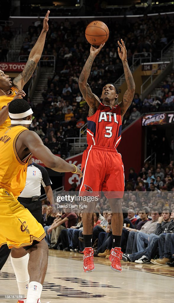 Louis Williams #3 of the Atlanta Hawks shoots the jumper against the Cleveland Cavaliers at The Quicken Loans Arena on December 28, 2012 in Cleveland, Ohio.