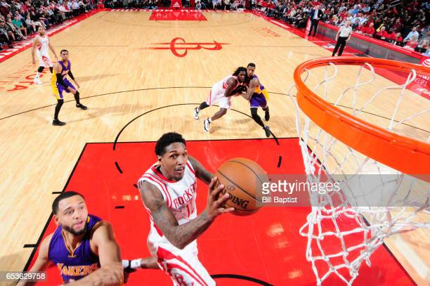 Louis Williams of the Houston Rockets goes up for a shot during a game against the Los Angeles Lakers on March 15 2017 at the Toyota Center in...