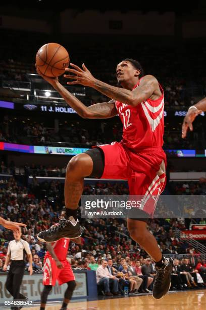 Louis Williams of the Houston Rockets goes up for a shot during a game against the New Orleans Pelicans on March 17 2017 at Smoothie King Center in...