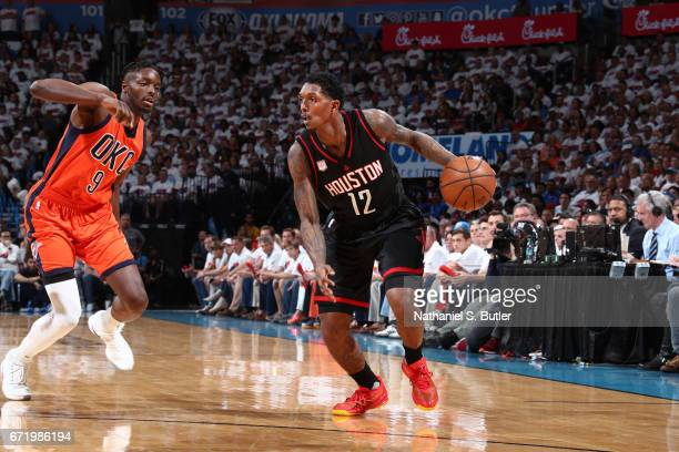 Louis Williams of the Houston Rockets handles the ball against the Oklahoma City Thunder during Game Four of the Western Conference Quarterfinals of...