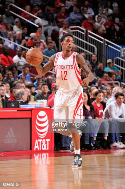 Louis Williams of the Houston Rockets handles the ball during a game against the Los Angeles Lakers on March 15 2017 at the Toyota Center in Houston...