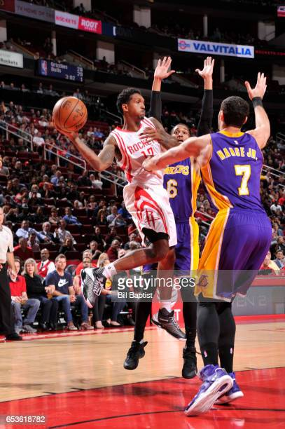 Louis Williams of the Houston Rockets passes the ball during a game against the Los Angeles Lakers on March 15 2017 at the Toyota Center in Houston...