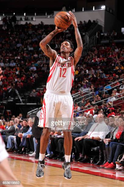 Louis Williams of the Houston Rockets shoots the ball during a game against the Los Angeles Lakers on March 15 2017 at the Toyota Center in Houston...