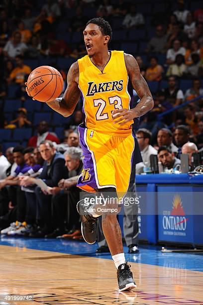 Louis Williams of the Los Angeles Lakers dribbles the ball against the Toronto Raptors during a preseason game on October 08 2015 at Citizens Bank...