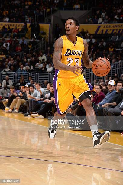 Louis Williams of the Los Angeles Lakers dribbles the ball against the Milwaukee Bucks on December 15 2015 at STAPLES Center in Los Angeles...