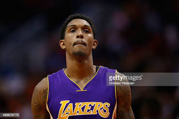 Louis Williams of the Los Angeles Lakers during the NBA game against the Phoenix Suns at Talking Stick Resort Arena on November 16 2015 in Phoenix...
