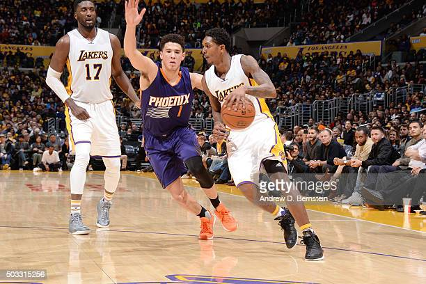 Louis Williams of the Los Angeles Lakers handles the ball during the game against the Phoenix Suns on January 3 2016 at STAPLES Center in Los Angeles...