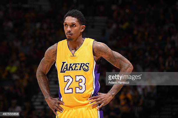 Louis Williams of the Los Angeles Lakers looks on during the game against the Sacramento Kings on October 13 2015 at the MGM Grand Garden Arena in...