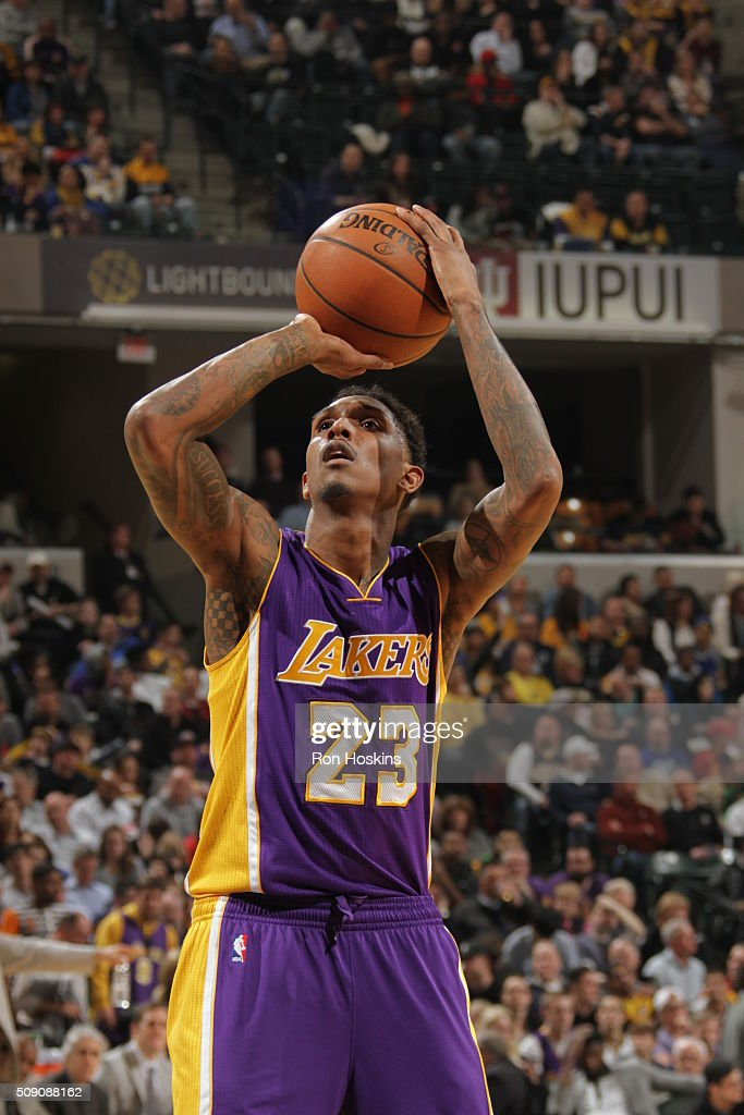 <a gi-track='captionPersonalityLinkClicked' href=/galleries/search?phrase=Louis+Williams&family=editorial&specificpeople=670315 ng-click='$event.stopPropagation()'>Louis Williams</a> #23 of the Los Angeles Lakers shoots a free throw against the Indiana Pacers on February 8, 2016 at Bankers Life Fieldhouse in Indianapolis, Indiana.