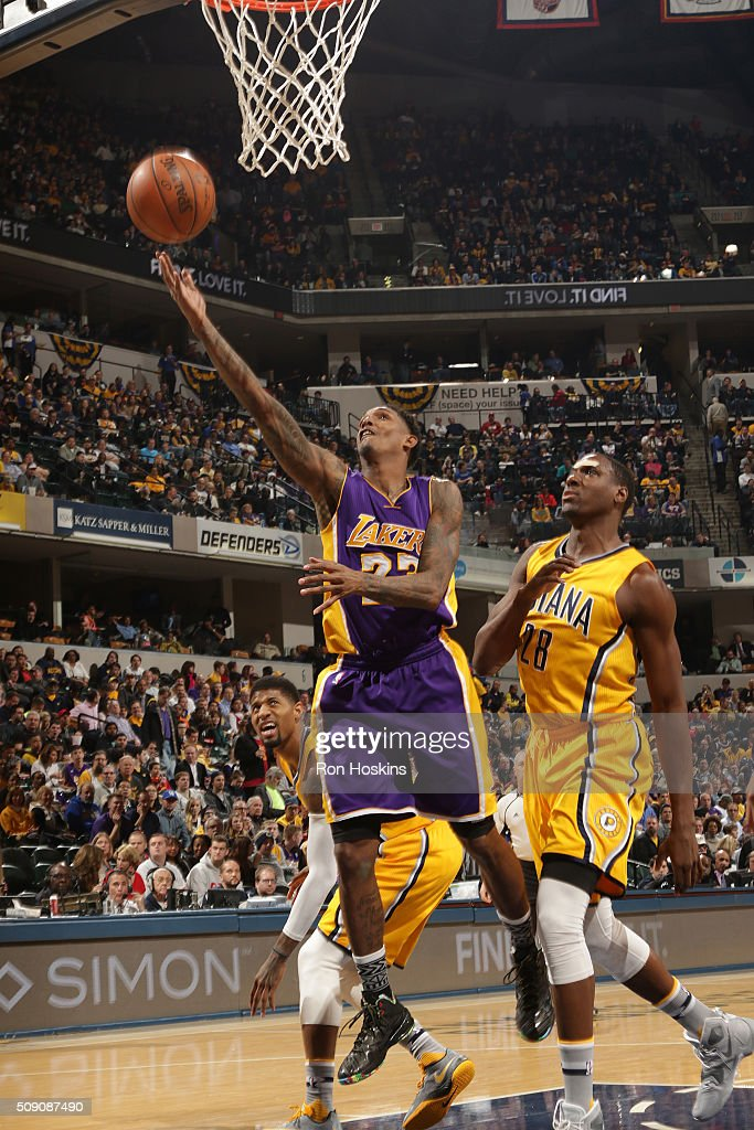<a gi-track='captionPersonalityLinkClicked' href=/galleries/search?phrase=Louis+Williams&family=editorial&specificpeople=670315 ng-click='$event.stopPropagation()'>Louis Williams</a> #23 of the Los Angeles Lakers shoots a lay up against the Indiana Pacers on February 8, 2016 at Bankers Life Fieldhouse in Indianapolis, Indiana.