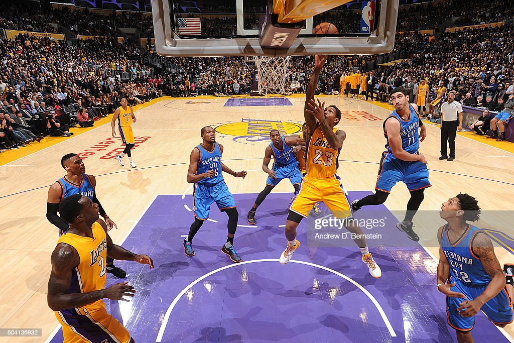 Louis Williams of the Los Angeles Lakers shoots the ball against the Oklahoma City Thunder on January 8 2016 at STAPLES Center in Los Angeles...