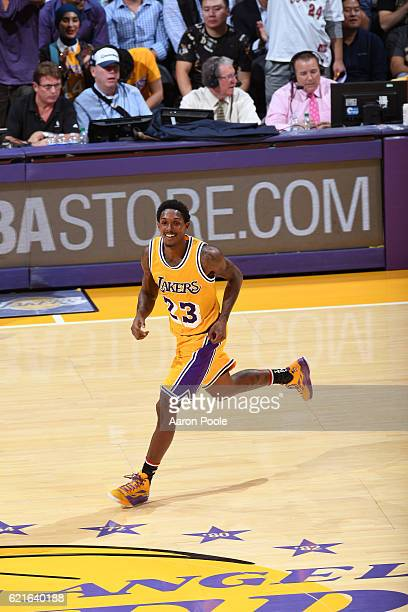 Louis Williams of the Los Angeles Lakers smiles and runs up the court during the game against the Golden State Warriors on November 4 2016 at STAPLES...