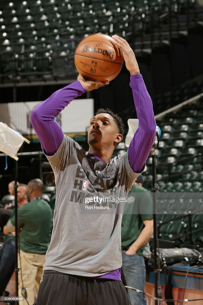 <a gi-track='captionPersonalityLinkClicked' href=/galleries/search?phrase=Louis+Williams&family=editorial&specificpeople=670315 ng-click='$event.stopPropagation()'>Louis Williams</a> #23 of the Los Angeles Lakers warms up before the game against the Indiana Pacers on February 8, 2016 at Bankers Life Fieldhouse in Indianapolis, Indiana.