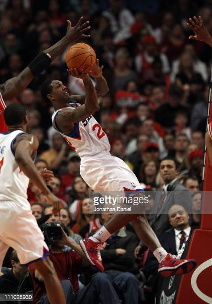 Louis Williams of the Philadelphia 76ers puts up a shot against the Chicago Bulls at the United Center on March 28 2011 in Chicago Illinois The 76ers...