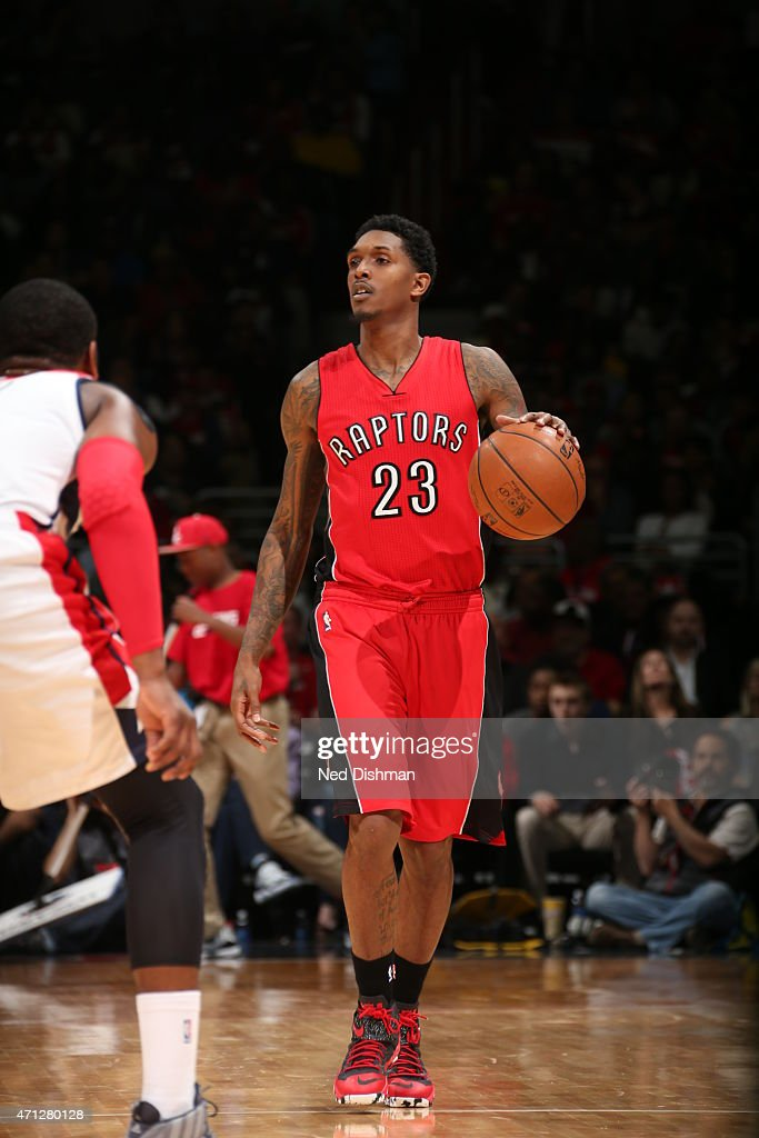 Louis Williams of the Toronto Raptors brings the ball up court against the Washington Wizards in Game Four of the Eastern Conference Quarterfinals...