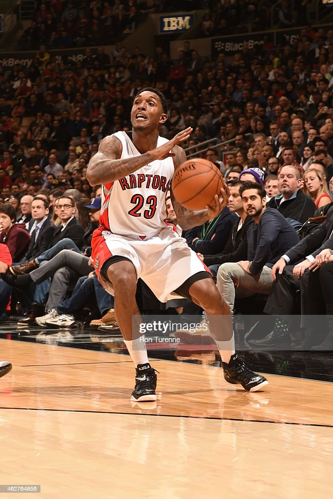 Louis Williams of the Toronto Raptors drives against the Brooklyn Nets on February 4 2015 at the Air Canada Centre in Toronto Ontario Canada NOTE TO...