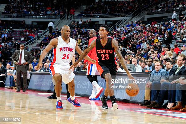 Louis Williams of the Toronto Raptors drives to the basket against the Detroit Pistons during the game on March 24 2015 at The Palace of Auburn Hills...