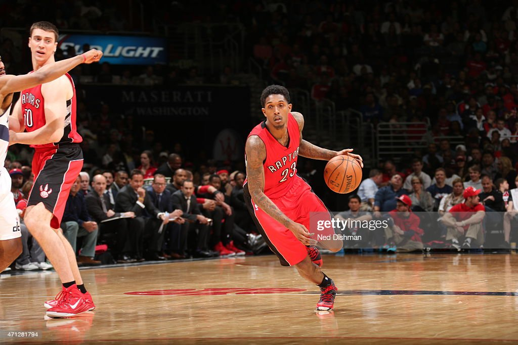 Louis Williams of the Toronto Raptors drives to the basket against the Washington Wizards in Game Four of the Eastern Conference Quarterfinals during...