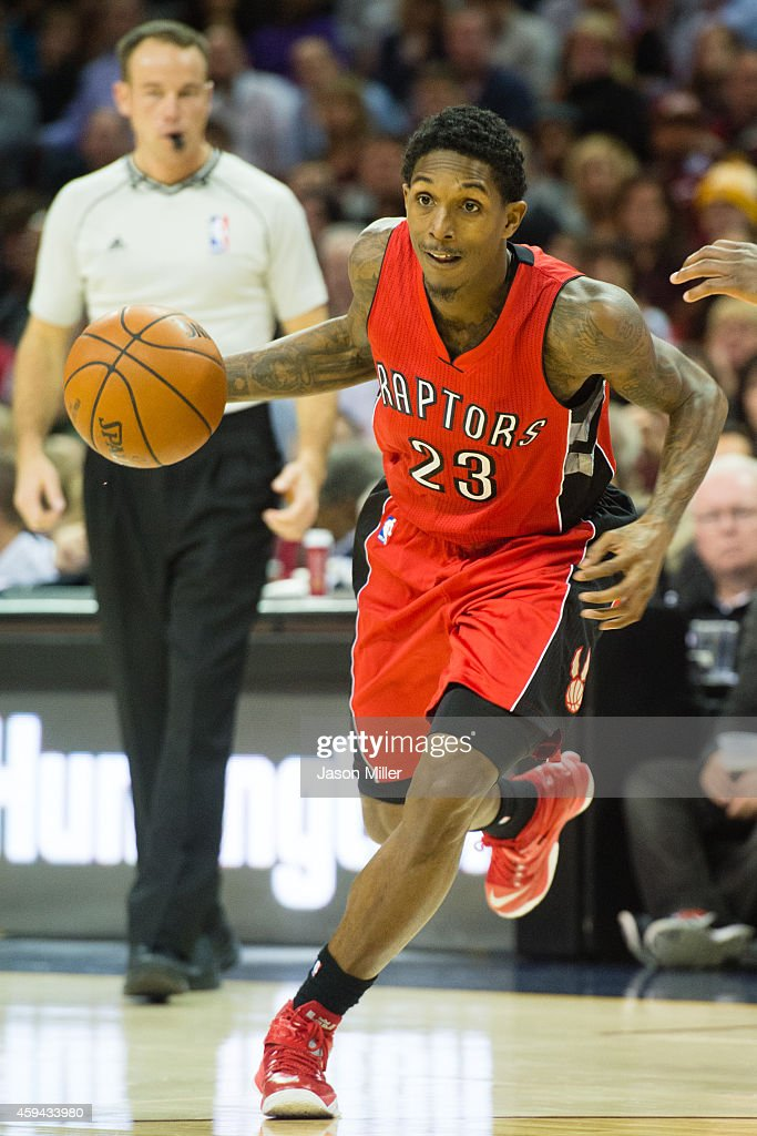 Louis Williams of the Toronto Raptors drives to the lane during the first half against the Cleveland Cavaliers at Quicken Loans Arena on November 22...