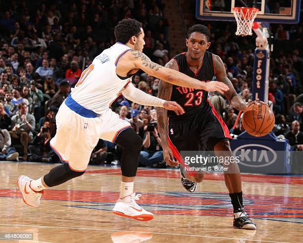 Louis Williams of the Toronto Raptors handles the ball against the New York Knicks on February 28 2015 at Madison Square Garden in New York City New...