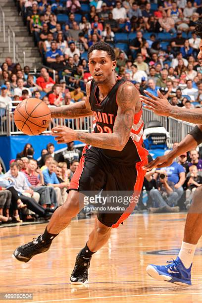 Louis Williams of the Toronto Raptors handles the ball against the Orlando Magic on April 10 2015 at Amway Center in Orlando Florida NOTE TO USER...
