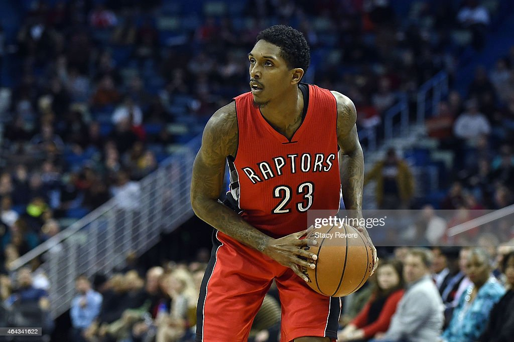 Louis Williams of the Toronto Raptors handles the ball during a game against the New Orleans Pelicans at the Smoothie King Center on February 23 2015...