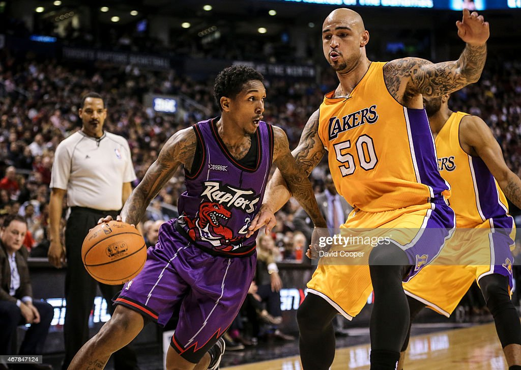 TORONTO ON MARCH 27 Louis Williams of the Toronto Raptors heads into the paint during the game between the Toronto Raptors and the Los Angeles Lakers...