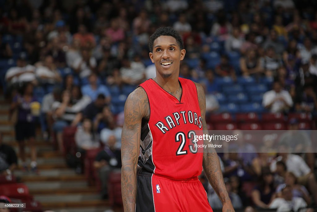 Louis Williams of the Toronto Raptors looks on during a game against the Sacramento Kings at the Sleep Train Arena in Sacramento California on...