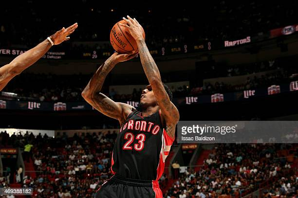 Louis Williams of the Toronto Raptors shoots against the Miami Heat on April 11 2015 at American Airlines Arena in Miami Florida NOTE TO USER User...