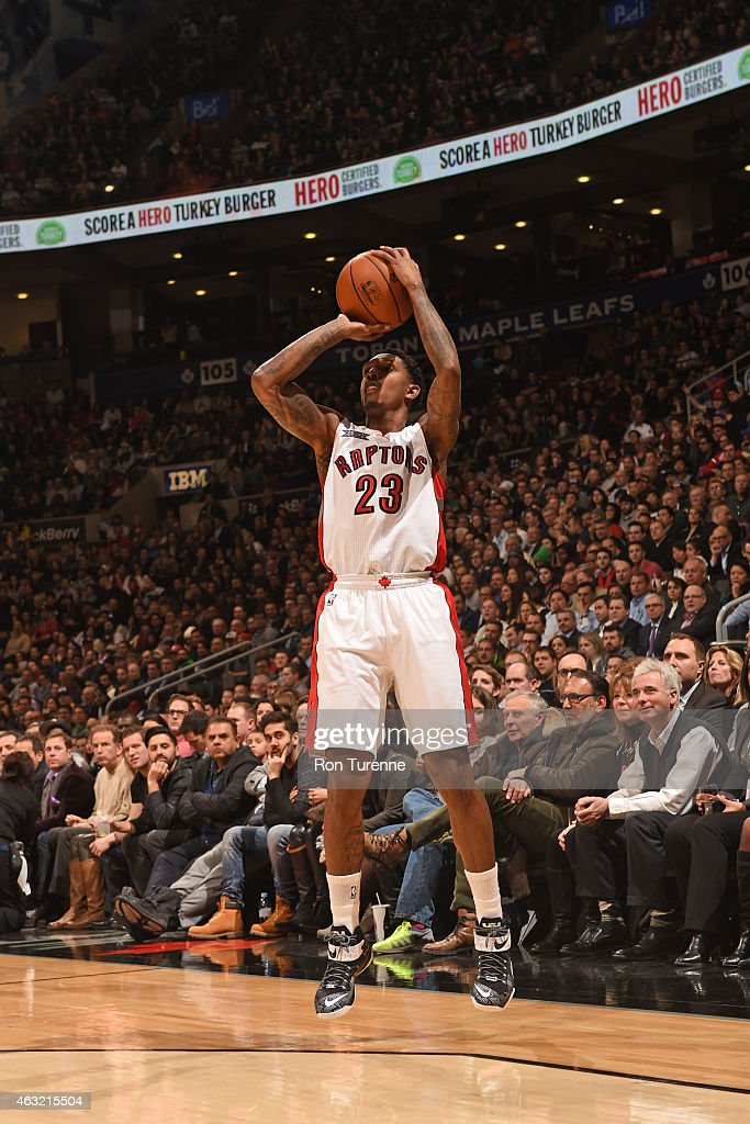 Louis Williams of the Toronto Raptors shoots the ball against the Washington Wizards during the game on February 11 2015 at the Air Canada Centre in...