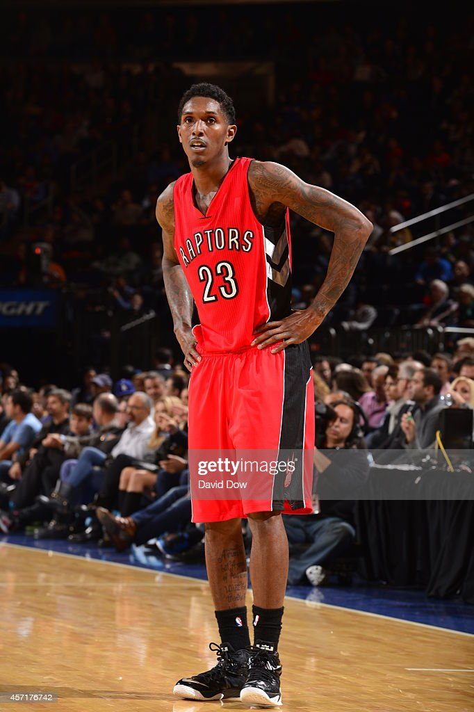Louis Williams of the Toronto Raptors stands on the court during a game against the New York Knicks at Madison Square Garden on October 13 2014 in...