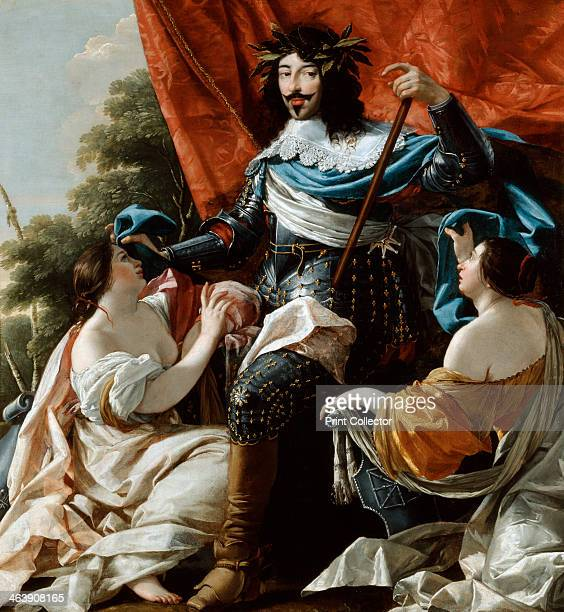 'Louis XIII' 17th century Louis XIII King of France from 16101643 depicted between two figures representing France and Navarre From the Musee du...