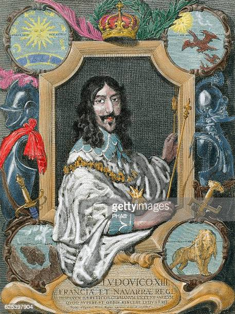 Louis XIII of France Monarch of the House of Bourbon King of France and Navarre from 16101620 Portrait Engraving Colored