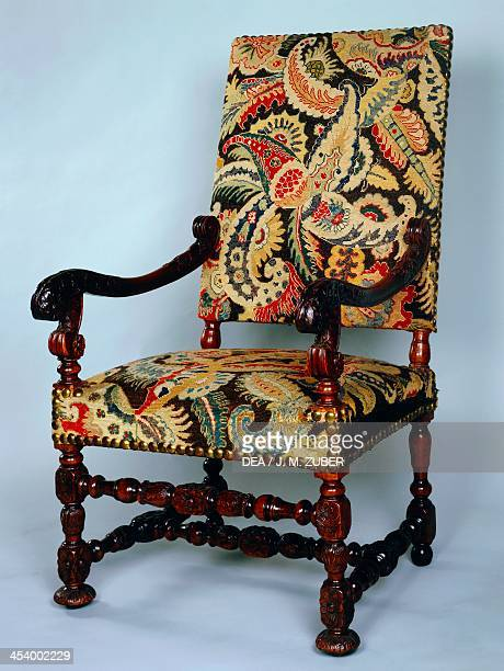 Louis XIII style armchair with twist turned frame and petit point upholstery France 17th century