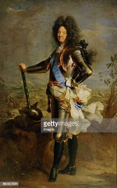 Louis XIV of France the battle scene in the background is by Charles Parrocel By Rigaud Hyacinthe [Louis XIV von Frankreich die Schlachtszene im...