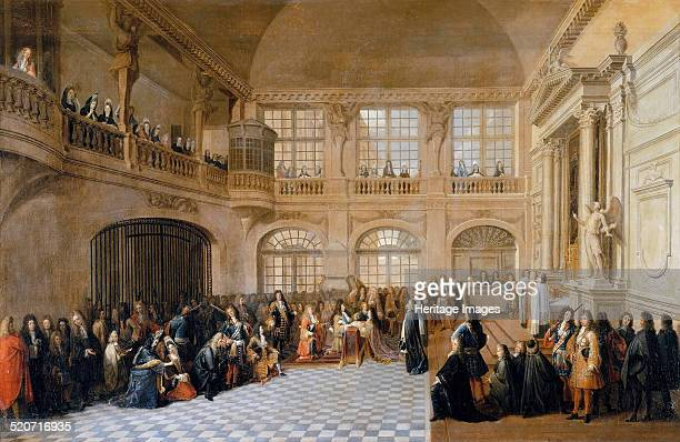 Louis XIV receiving the oath of the Marquis De Dangeau Grand Master of the Order of Saint Lazare in the chapel of Versailles D Found in the...