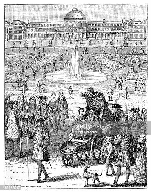 Louis XV at the Tuileries Paris 18th century Louis as a child being shown around the gardens at the Tuileries He became king at the age of five