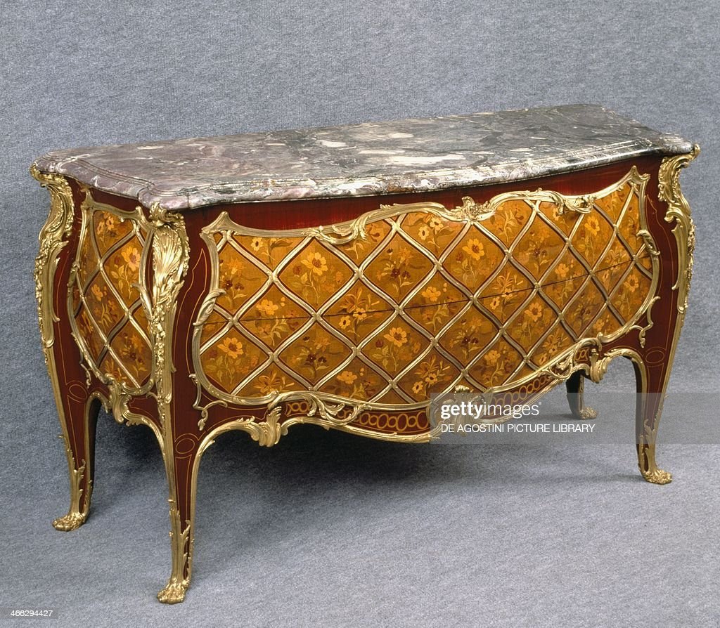 Louis XV Style Second Empire Sycamore Commode With Flower Inlays In Boxwood  Lemonwood And Maple France