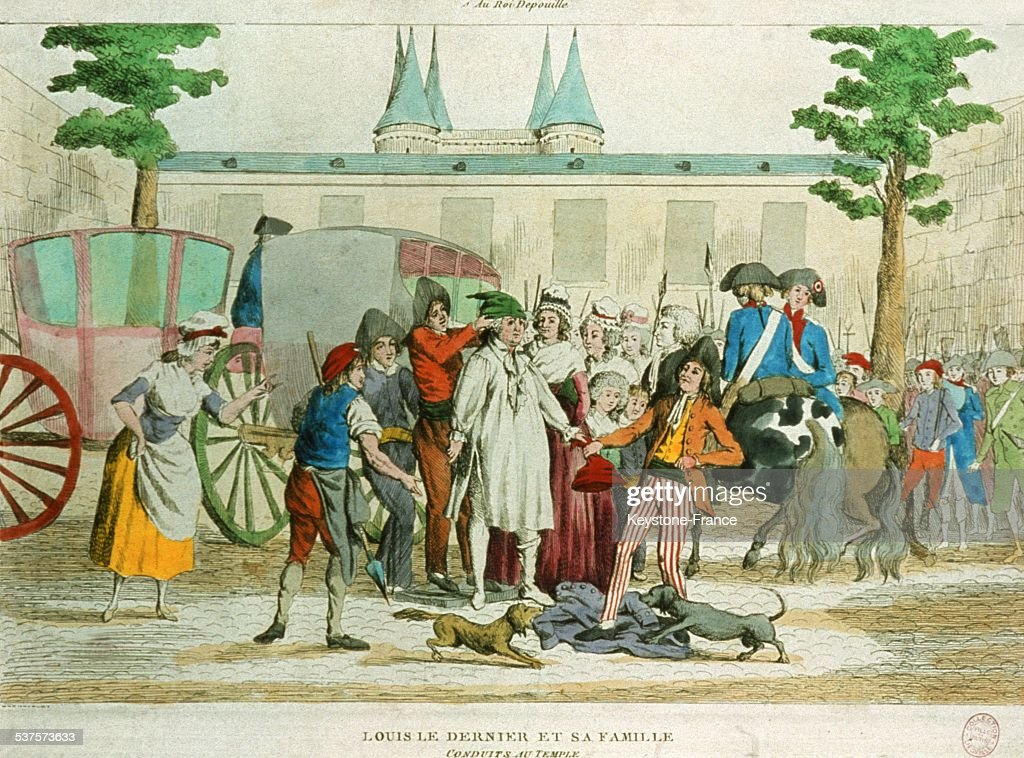 Louis XVI and the royal family arrive at the prison of the Temple and are undressed by the 'Sans-Culotte', in August 1792 in Paris, France.