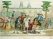 Louis XVI and the royal family arrive at the prison of the Temple and are undressed by the 'SansCulotte' in August 1792 in Paris France