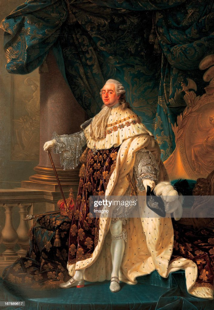 Louis XVI; Kng of France; in his coronation robes with the order of the Saint Esprit. 1779. Oil / Canvas. 275,5x193,5cm. Schloss Ambras. Inv. 3444. (Photo by Gerhard Trumler/Imagno/Getty Images) König Ludwig XVI im Krönungsornat mit dem Orden vom Heiligen Geist (Ordre du Saint-Esprit). 1779. Öl / Leinwand. 275,5x193,5cm. Schloss Ambras. Inv. 3444.