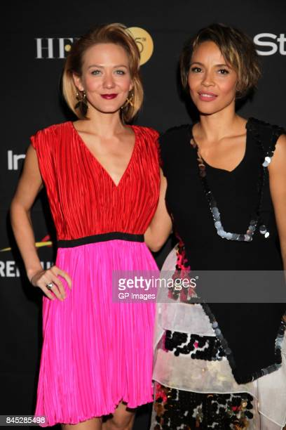 Louisa Krause and Carmen Ejogo attend The Hollywood Foreign Press Association and InStyle's annual celebrations of the 2017 Toronto International...