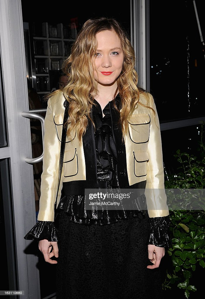 Louisa Krause attends the after party for The Cinema Society & Make Up For Ever screening of 'Electrick Children' at Hotel Americano on March 4, 2013 in New York City.