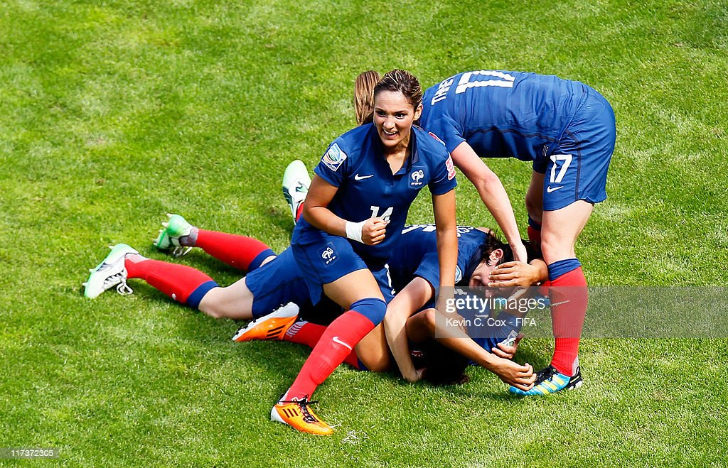 <a gi-track='captionPersonalityLinkClicked' href=/galleries/search?phrase=Louisa+Necib&family=editorial&specificpeople=2333059 ng-click='$event.stopPropagation()'>Louisa Necib</a> of France celebrates after Marie-Laure Delie of France scored the first goal against Nigeria during the FIFA Women's World Cup 2011 Group A match between between Nigeria and France at Rhein-Neckar-Arena on June 26, 2011 in Sinsheim, Germany.