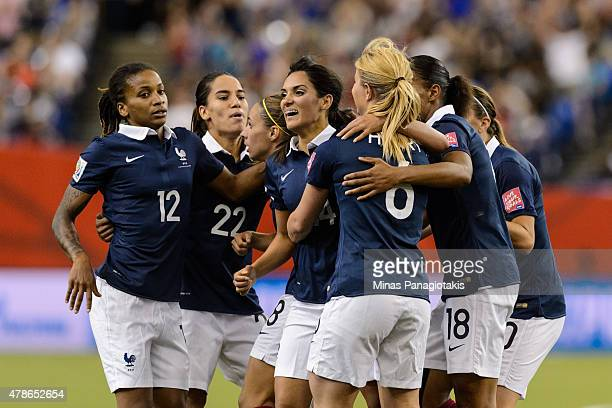 Louisa Necib of France celebrates her goal with teammates during the 2015 FIFA Women's World Cup quarter final match against Germany at Olympic...