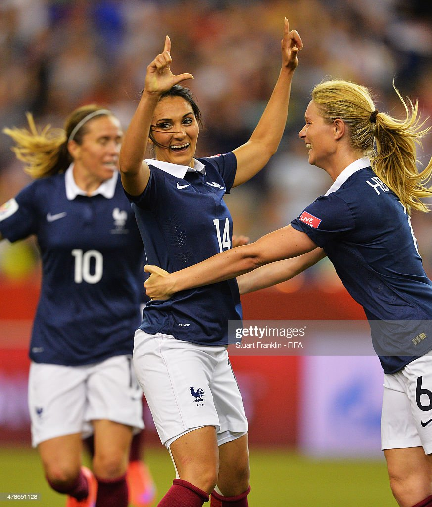 <a gi-track='captionPersonalityLinkClicked' href=/galleries/search?phrase=Louisa+Necib&family=editorial&specificpeople=2333059 ng-click='$event.stopPropagation()'>Louisa Necib</a> of France celebrates scoring her goal during the quarter final match of the FIFA Women's World Cup between Germany and France at Olympic Stadium on June 26, 2015 in Montreal, Canada.