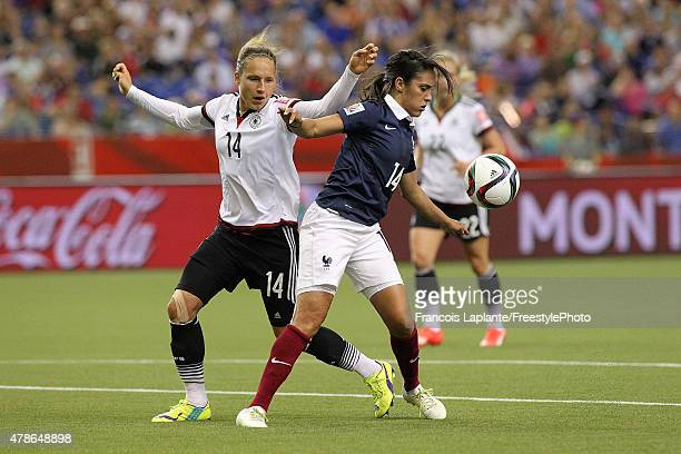 Louisa Necib of France controls the ball against Babett Peter of Germany during the FIFA Women's World Cup Canada 2015 quarter final match between...